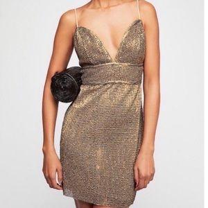 NWOT Saylor x Free People gold Frankie dress